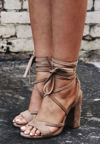 Apricot Round Toe Chunky Cross Strap Fashion High-Heeled Sandals