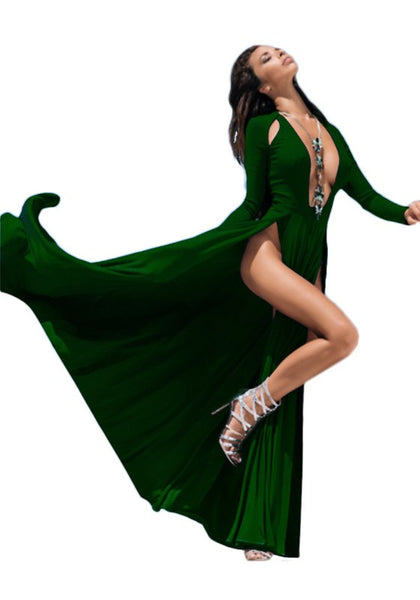 Green Cut Out Draped Deep V-neck Plus Size Double Slit Maxi Dress