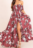 Red Floral Print Draped Slit Backless Off Shoulder Party Maxi Dress