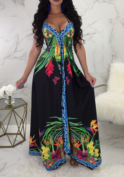 Black Flowers Draped Halter Neck Backless V-neck Bohemian Maxi Dress