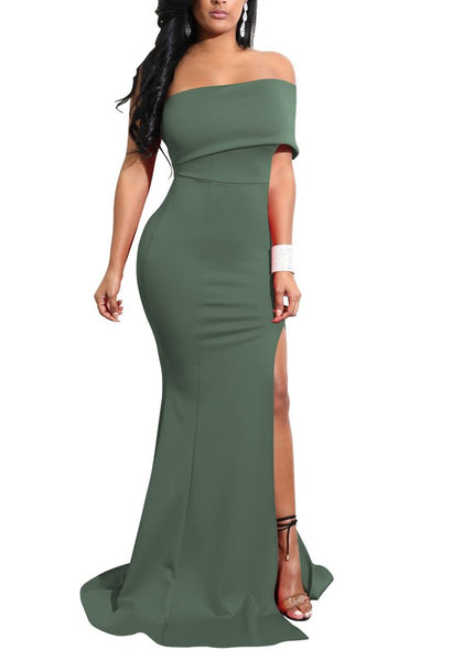 Army Green Boat Neck Off Shoulder Side Slit Elegant Party Maxi Dress