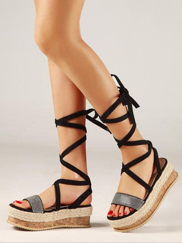 Black Round Toe Fashion High-Heeled Sandals