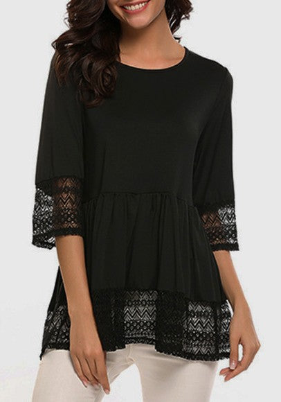Black Patchwork Lace Round Neck Three Quarter Length Sleeve T-Shirt