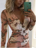 New Pink Floral Print Deep V-neck Party Sweet Mini Dress