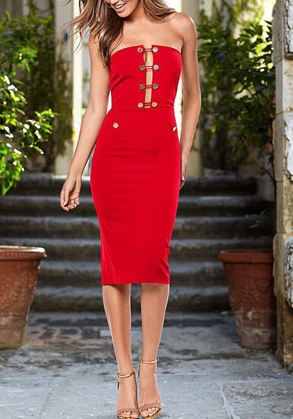Red Plain Bandeau Studded Zipper Fashion Midi Dress