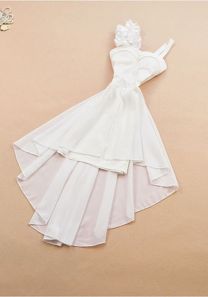 White Flowers Ruffle Bandeau Zipper High-low Casual Maxi Dress