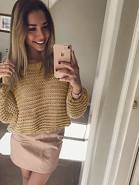 Yellow Irregular Long Sleeve Round Neck Fashion Sweater