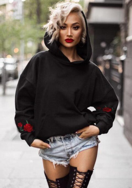 Black Floral Round Neck Long Sleeve Hoodie Sweatshirt