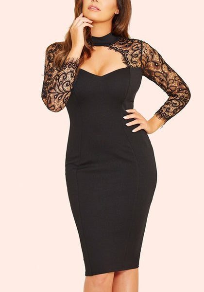 Black Patchwork Lace Cut Out Backless Long Sleeve Birthday Party Midi Dress