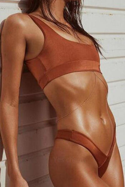 Solid Color Low Waist Bikini Swimsuit