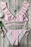 Striped Ruffle Plunge Criss Cross Bikini Set