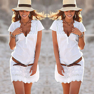 2017 New Women Dress Summer Casual Sleeveless  Party Cocktail Beach Lace Short Mini Dress