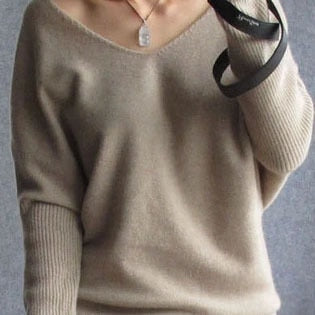 2017 Cashmere Wool Sweater and Fashion V-Neck Long Loose Sleeve Plus Size Pullovers Knitted Sweater Women Sweater