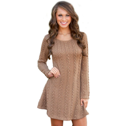 2017 Casual Knitted Sweater Dresses Women Long Sleeve pullover Round Neck Bodycon Irregular Khaki/Beige Loose Sweater Dress