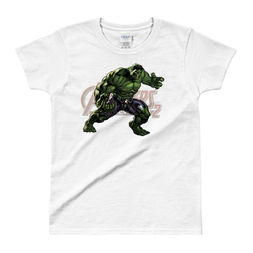 Hulk T shirt SuperHero Charactor T shirt short-sleeve White Cotton T shirt for women