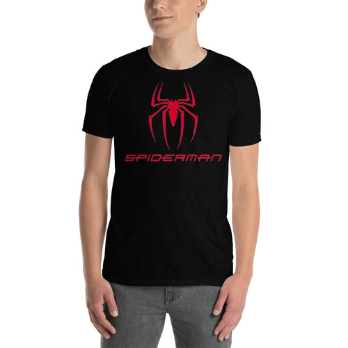 Spider Logo T shirt Spiderman T shirt Black Short-Sleeve Cotton T shirt for men