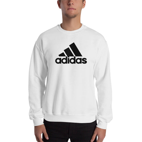 Adidas Sweatshirt Branded Sweatshirt full-sleeve crew neck White Adidas logo sweatshirt for men