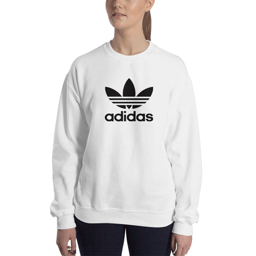 Branded Sweatshirt Adidas Sweatshirt full-sleeve crew neck White sweatshirt for women