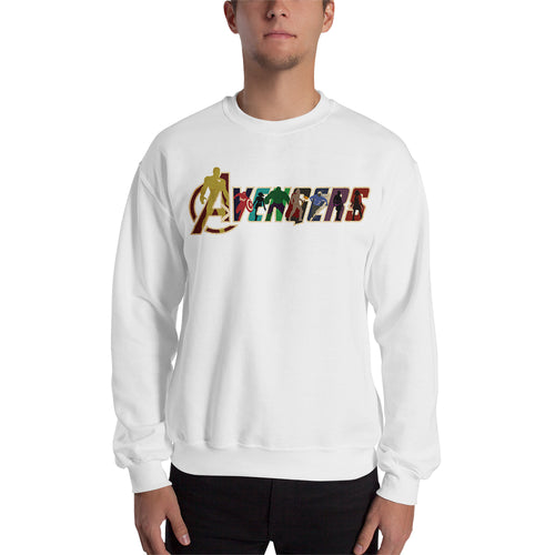 Avengers Sweatshirt Cool Avengers logo Sweatshirt White Full Sleeve Cotton-Polyester Sweatshirt for men