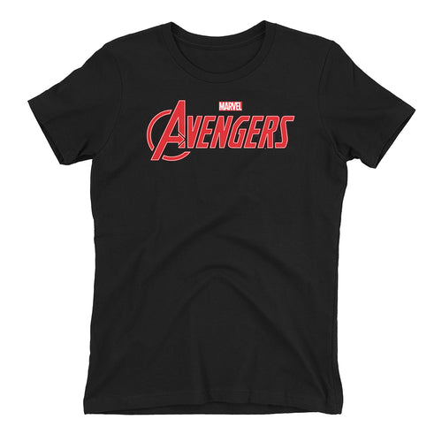 Avengers T shirt Avengers Logo T shirt Black short-sleeve Cotton T shirt for women