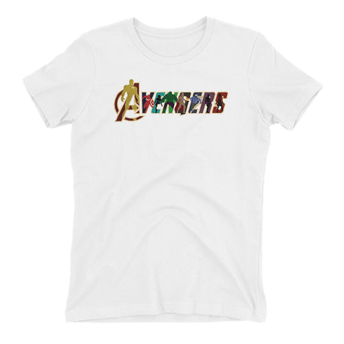 Avengers T shirt Cool Avengers logo T shirt White Short Sleeve Cotton T shirt for women