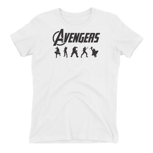 Avengers T shirt Avengers Logo T shirt Short Sleeve Cotton White T shirt for women