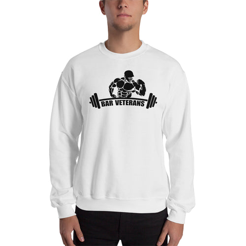 Bar Veterans Sweatshirt Fitness Sweatshirt White Full-sleeve Gym Sweatshirt for men