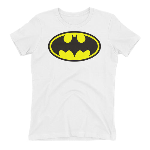 Batman T shirt Batman Logo T shirt Cotton White Half Sleeve T shirt for women