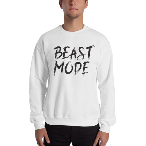 Gym Sweatshirt Beast Mode On Sweatshirt White Full-sleeve Fitness Sweatshirt for men