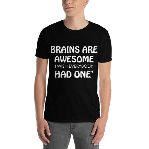 Funny T shirt Brains are awesome t shirt Black Cotton short sleeve Funny Humor t shirt for men