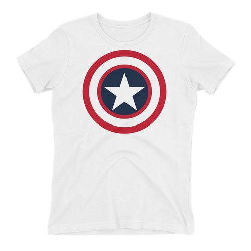 Captain America Shield T shirt SuperHero T shirt Short-Sleeve White Cotton T shirt for women