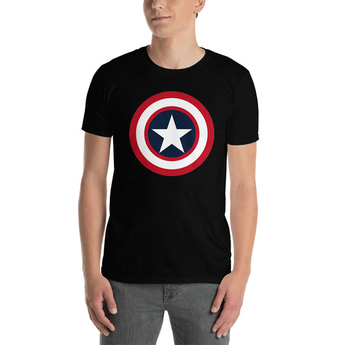 SuperHero T shirt Captain America Shield T shirt Short-Sleeve Black Cotton T shirt for men