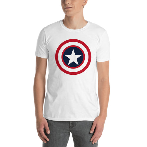 Captain America Shield T shirt SuperHero T shirt Short-Sleeve White Cotton T shirt for men