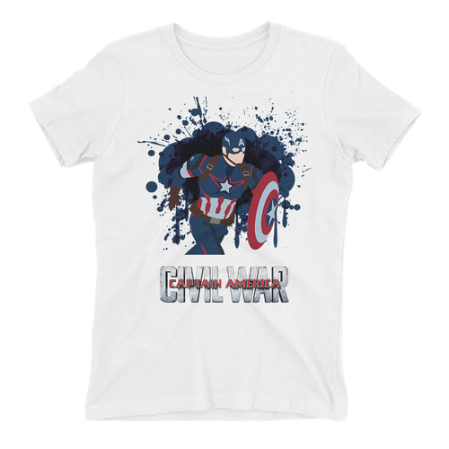 Captain America Vector T shirt SuperHero T shirt White Short-Sleeve Cotton T shirt for women
