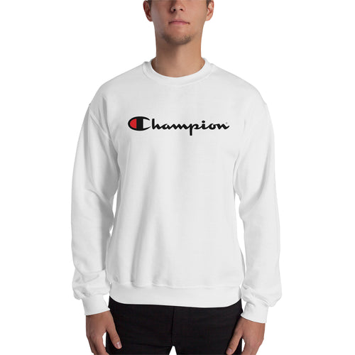 Branded Sweatshirt Champion Sweatshirt full-sleeve crew neck White Champion logo sweatshirt for men