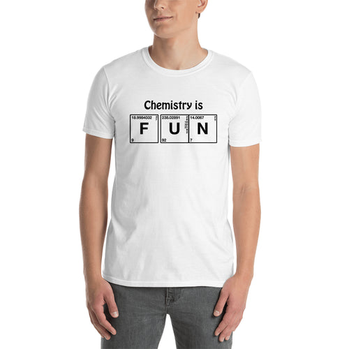 Chemistry is fun t shirt White Short-sleeve Cotton Chemistry t shirt for men