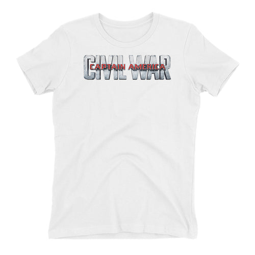 Captain America Civil War T shirt Captain America T shirt Short-Sleeve White Cotton T shirt for women