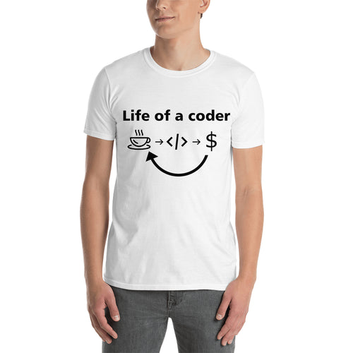 Life of a coder t shirt Coding t shirt White Short-sleeve Cotton Coding t shirt for men