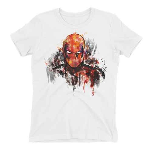 Deadpool Color Art T shirt SuperHero T shirt White Short-Sleeve Cotton T shirt for women