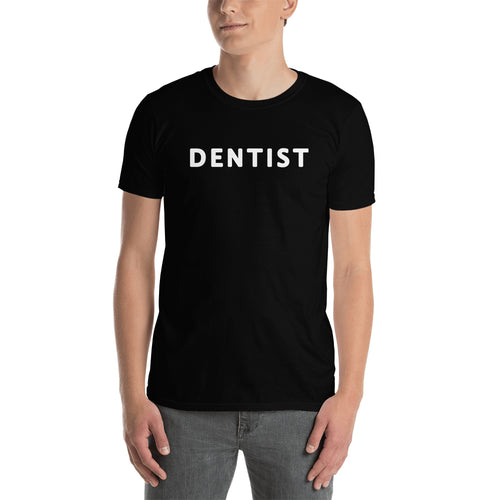 Dental T shirt One word Dentist T shirt Black Cotton short-sleeve T shirt for men