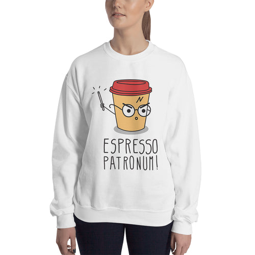 Espresso Patronum Sweatshirt Funny Espresso Coffee Sweatshirt White Cotton Sweatshirt for women