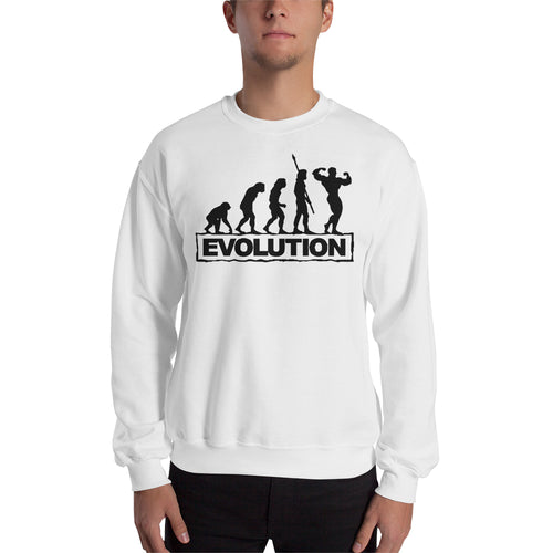 Fitness Evolution Sweatshirt Fitness Sweatshirt White Full-sleeve Gym Sweatshirt for men