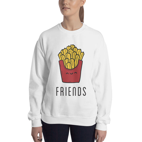 Burger Fries Sweatshirt Best Friends Sweatshirt White Cotton Best Friends Twining Sweatshirt for women