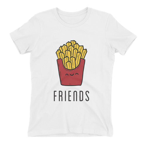 Burger Fries T shirt Best Friends T shirt White Cotton Best Friends Twining T shirt for women