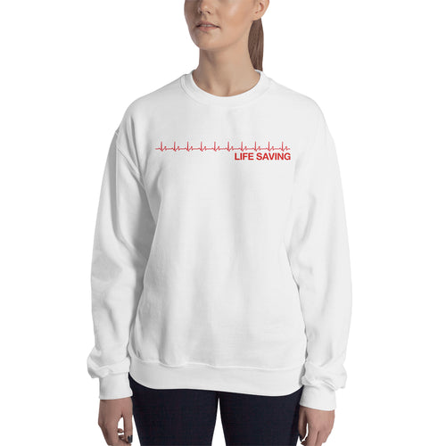 Life Saving Doctor Sweatshirt Lady Doctors Sweatshirt White Cotton-Polyester sweatshirt for women