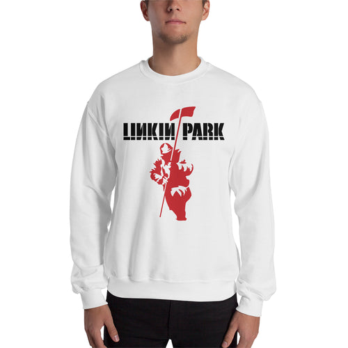 Linkin Park Sweatshirt Linkin Park Band Sweatshirt White Cotton Band Sweatshirt for men