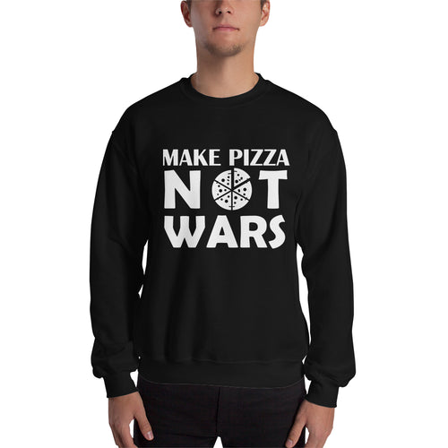 Pizza Sweatshirt Make Pizza Not Wars Sweatshirt Black Cotton Polyester Pizza Sweatshirt for men