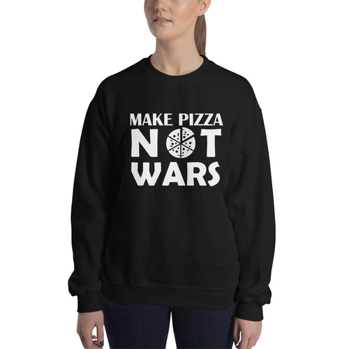 Pizza Sweatshirt Make Pizza Not Wars Sweatshirt Black Cotton Polyester Pizza Sweatshirt for women