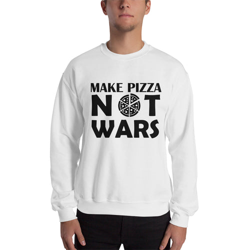 Make Pizza Not Wars Sweatshirt Pizza Sweatshirt White Cotton Polyester Sweatshirt for men