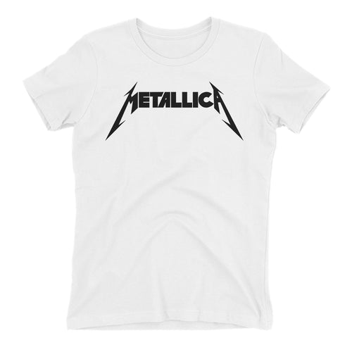 Metallica T shirt White Metallica Rock Band T shirt Short-sleeve Cotton T shirt for women